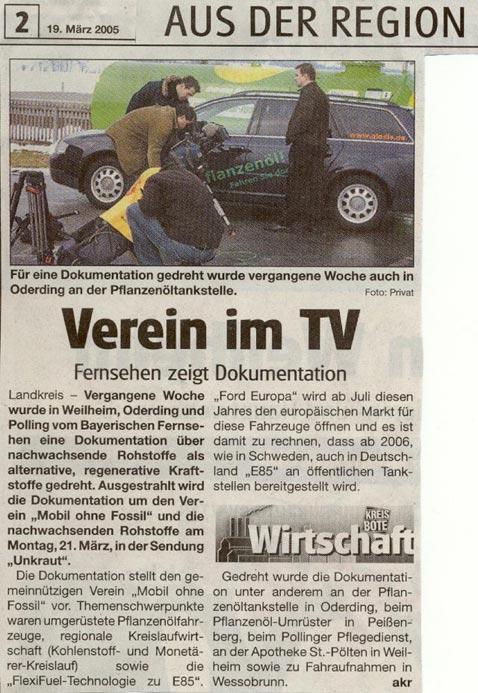 Zeitungsartikel ueber MoF im Fernsehen